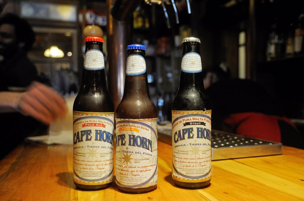 Stock Photo: 1566-1066925 Cape Horn beer, Ramos Generales, bar, restaurant, bakery, museum, located in an old warehouse, Ushuaia, Tierra del Fuego, Patagonia, Argentina, South America