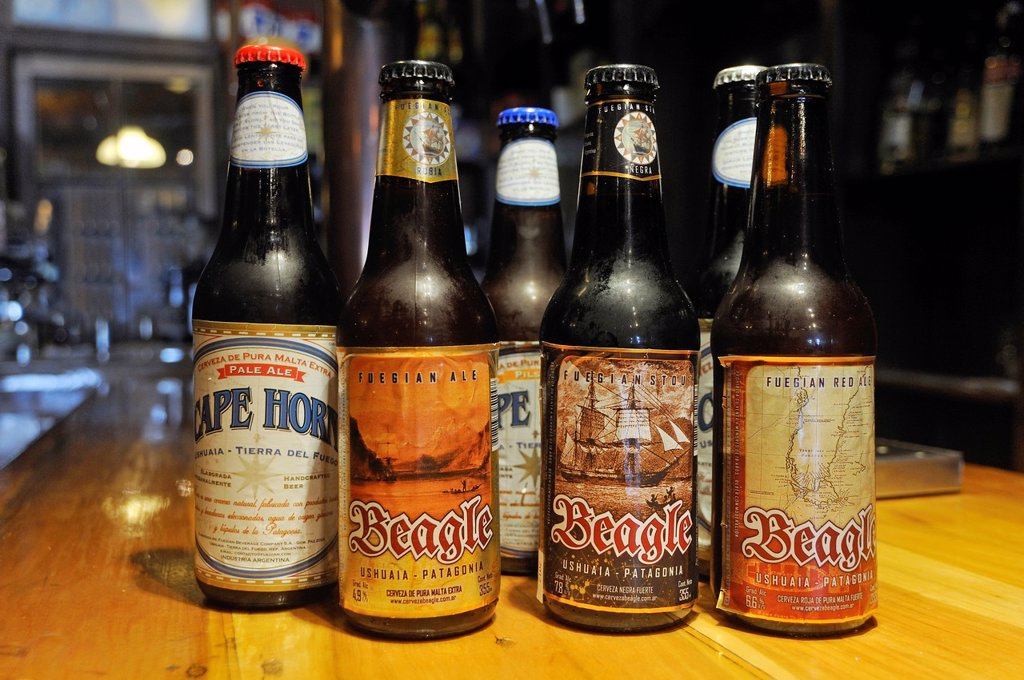 Stock Photo: 1566-1066926 Beagle and Cape Horn beer, Ramos Generales, bar, restaurant, bakery, museum, located in an old warehouse, Ushuaia, Tierra del Fuego, Patagonia, Argentina, South America