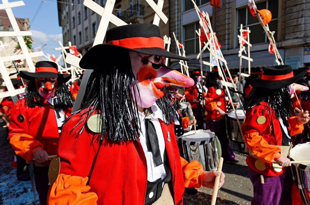 The Carnival of Basel is the biggest carnival in Switzerland and takes place annually between February and March  It has been listed as one of the top fifty local festivities in Europe  Basel  Canton of Basel-City  Switzerland : Stock Photo