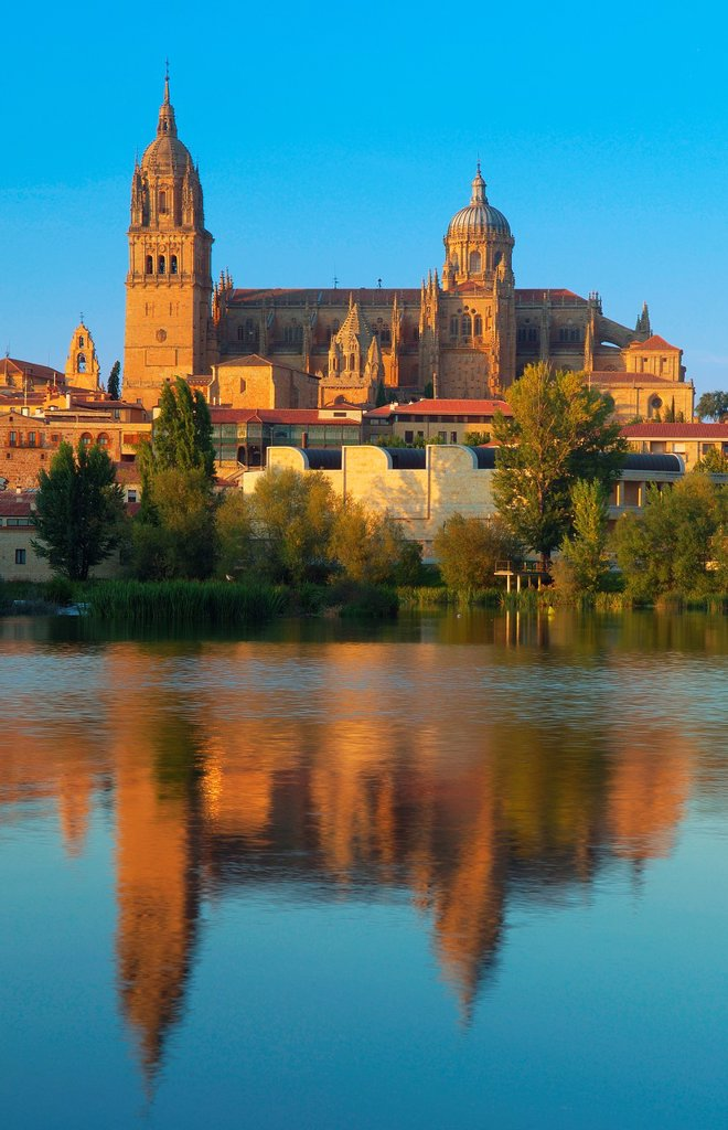 Stock Photo: 1566-1067224 Cathedral and Tormes river, Salamanca, Castilla-Leon, Spain
