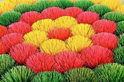 Vietnam, Hue, manufactures incense sticks. : Stock Photo