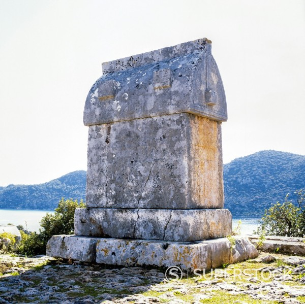 Stock Photo: 1566-1067416 Lycian rock tomb, Kaleköy, Üçagiz Teimiussa, Antalya Province, Turkey