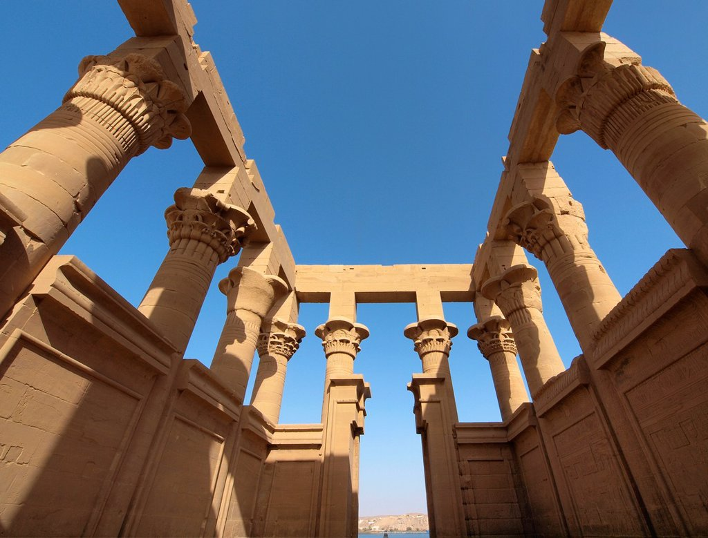 Stock Photo: 1566-1067547 Philae Temple Isis Temple  Aswan  High Egypt