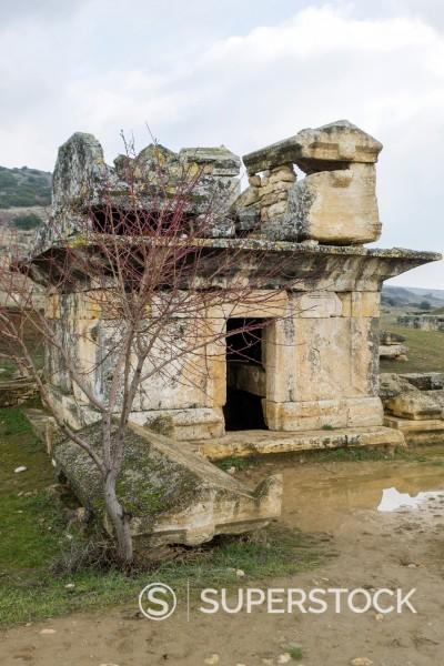 Hellenistic Sarcophagi, ruins of Hierapolis, UNESCO World Heritage Site, Pamukkale, Denizli Province, Turkey : Stock Photo