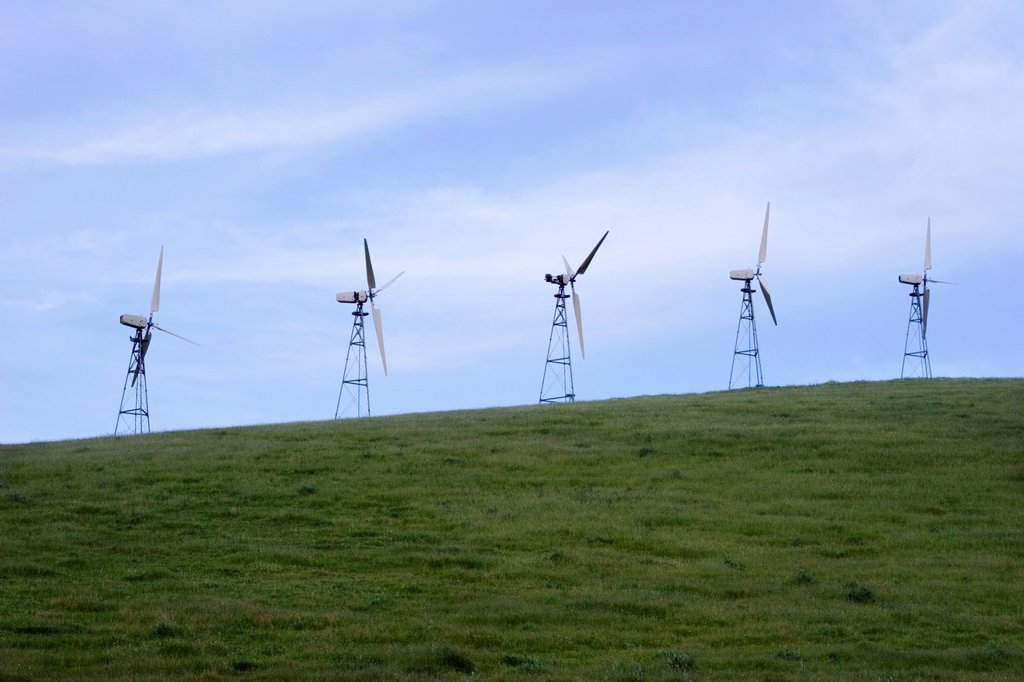 Stock Photo: 1566-1068389 Windmills at Altamont Pass Wind Resource Area in Alameda County, California, United States of America