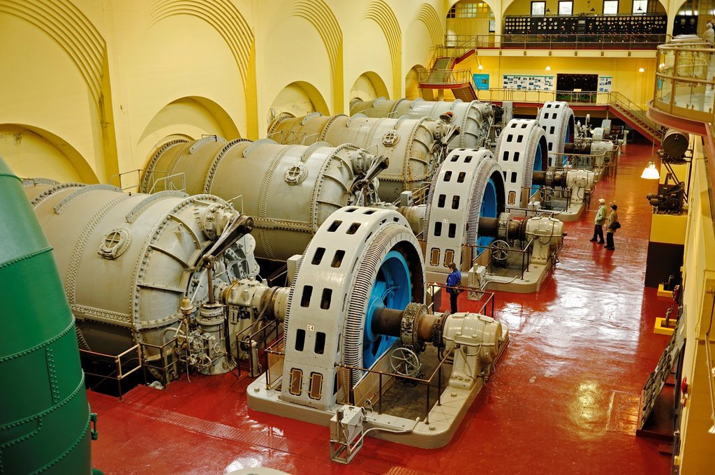 Generator Hall, Stave Falls Hydroelectric Plant, Fraser Valley, British Columbia, Canada : Stock Photo