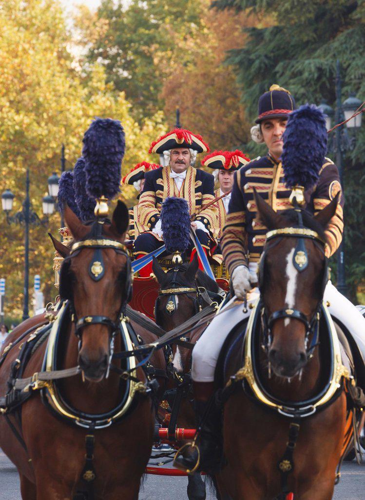 Stock Photo: 1566-1068770 Madrid, Spain  Cochero del Palacio Real  Coachman of the Royal Palace