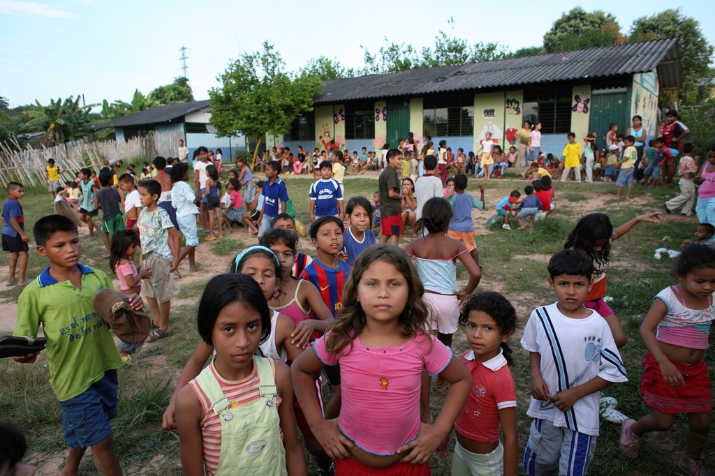 Stock Photo: 1566-1069455 Primary school in one of the Colombian slums in Barrancabermeja