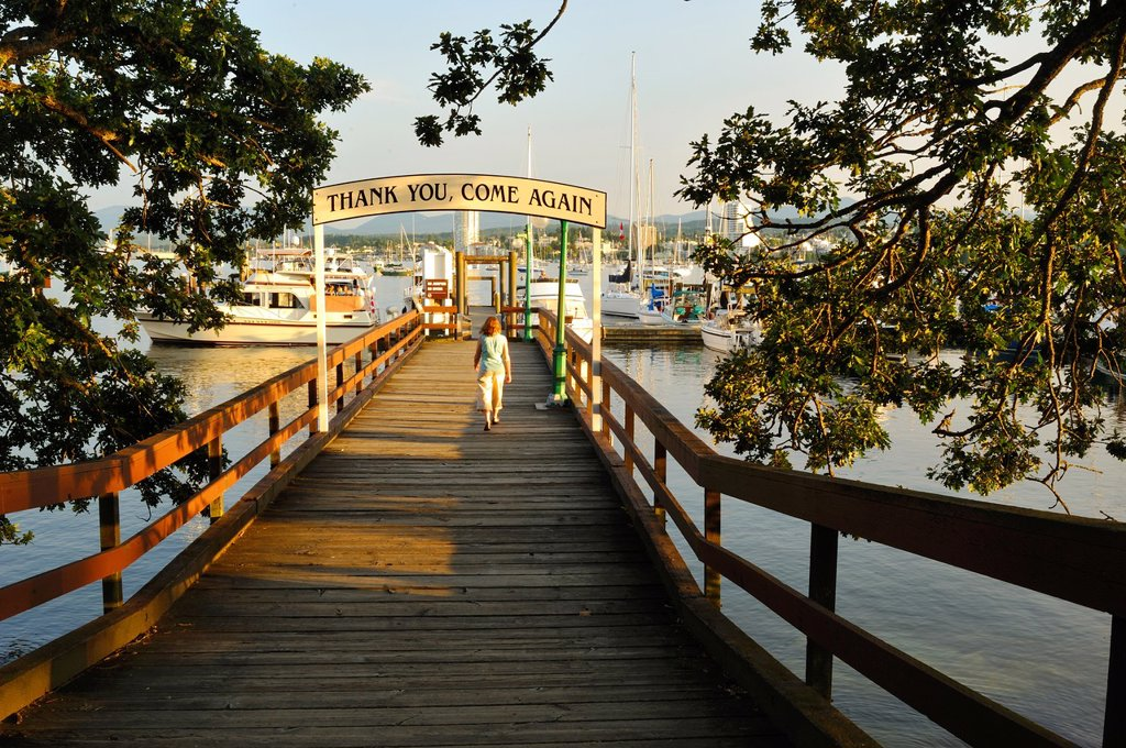 jetty to Newcastle Island docks, Nanaimo, Vancouver Island, British Columbia, Canada : Stock Photo