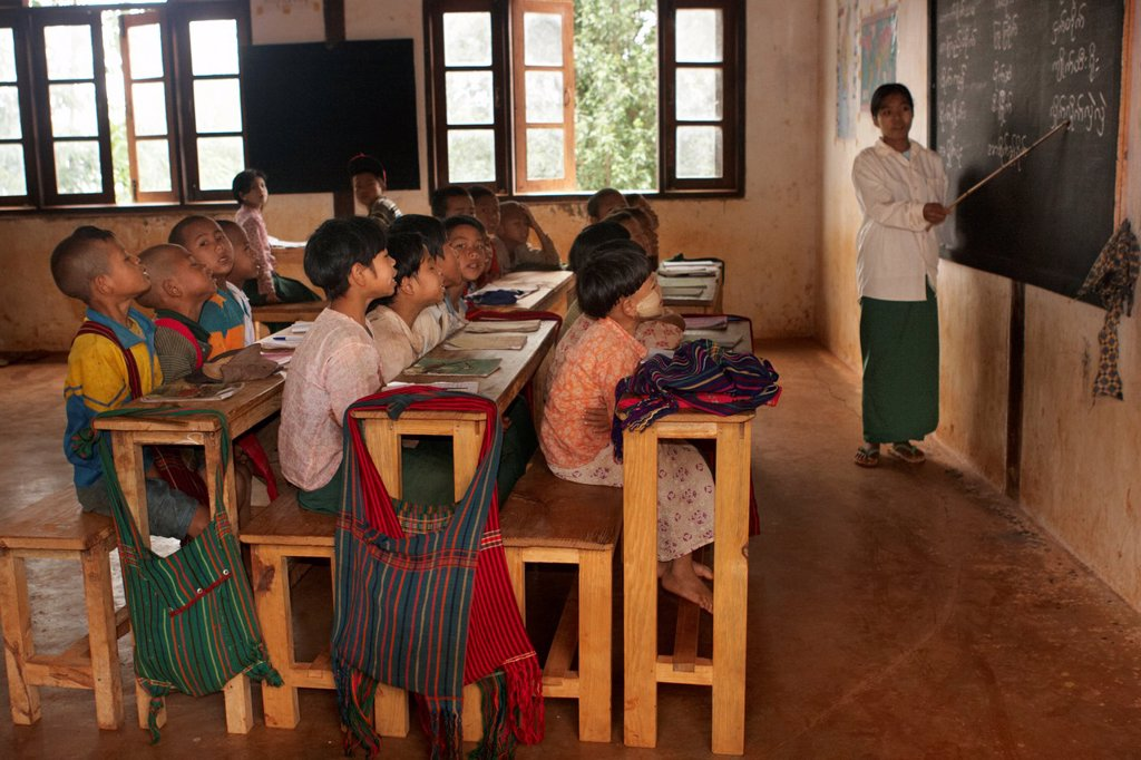 Pa-O tribe school during theTrekking from Kalaw to Inle Lake, Kalaw, Shan State, Myanmar, Burma, Asia : Stock Photo