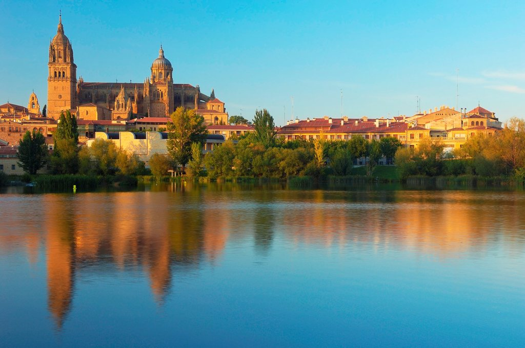 Cathedral and Tormes river, Salamanca, Castilla-Leon, Spain : Stock Photo