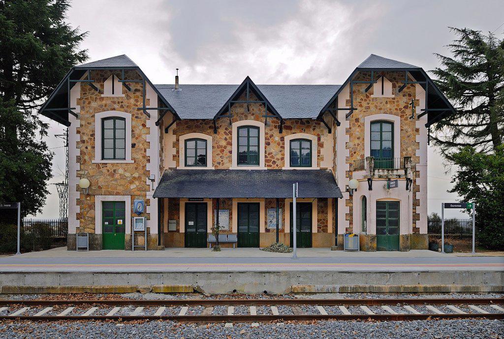 Railway station of Sarracín de Aliste, Zamora province, Castilla y León, Spain : Stock Photo