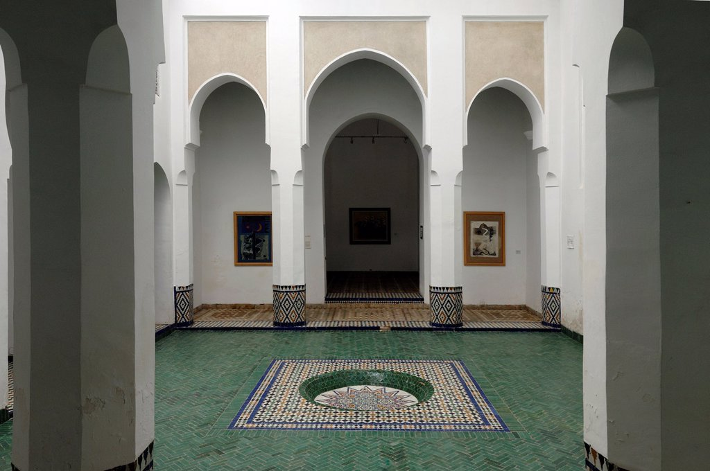 Interior Courtyard of the Musee de Marrakesh Marrakesh Museum, Morocco : Stock Photo