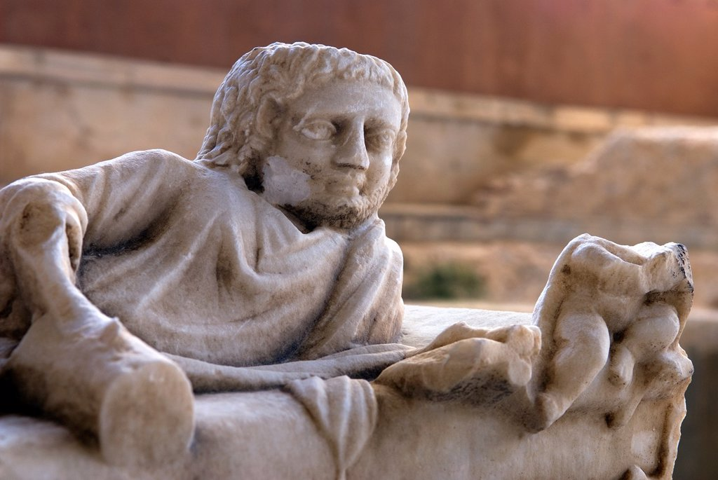 sculpture on the top of a Roman sarcophagus, Museum of the Archeological site of Side, Province of Antalya, Turkey, Eurasia : Stock Photo