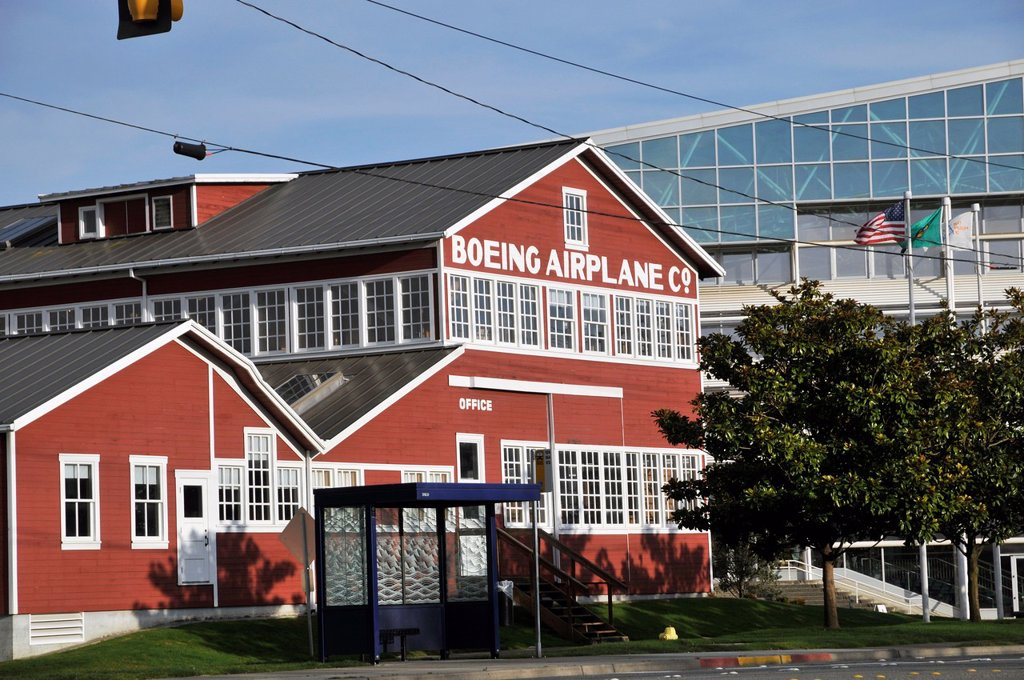 Stock Photo: 1566-1073800 Old office building of Boeing airplane Co.from left side, The Museum of Flight, Seattle, Washington, WA, USA