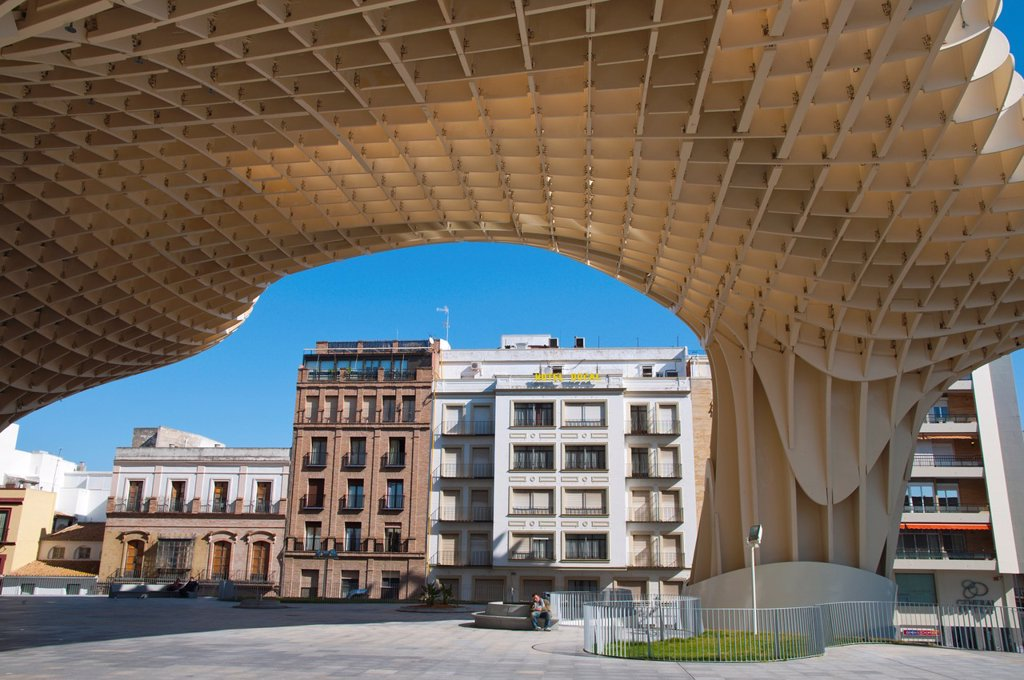 Stock Photo: 1566-1073973 Metropol Parasol 2011 wooden structure by Jürgen Mayer-Hermann at Plaza de la Encarnacion square Seville Andalusia Spain