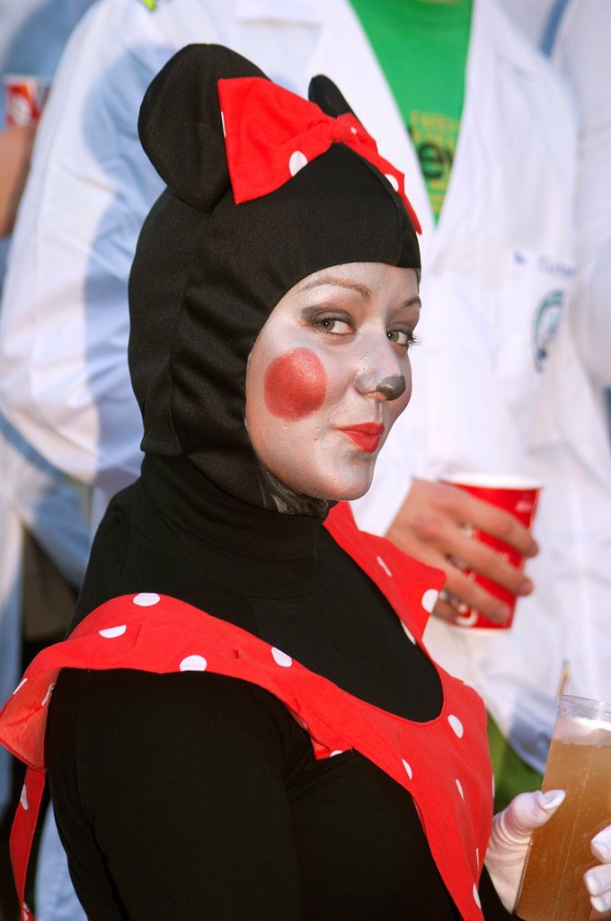 Carnival Girl disguised as a cat Cadiz Spain : Stock Photo