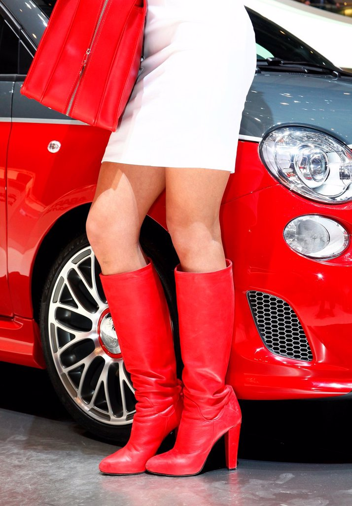 Stock Photo: 1566-1074151 Geneva motor show , feature , girl
