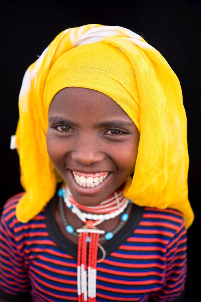 Portrait of a villager in Awash, Afar region in Ethiopia : Stock Photo