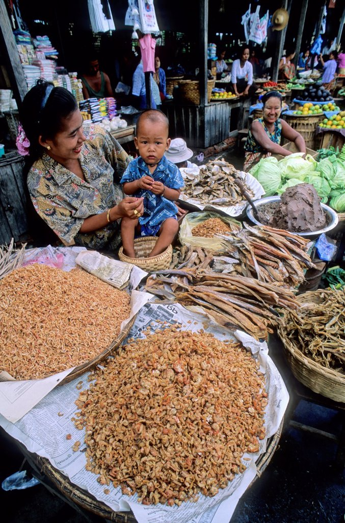 Yangon street market, Myanmar : Stock Photo