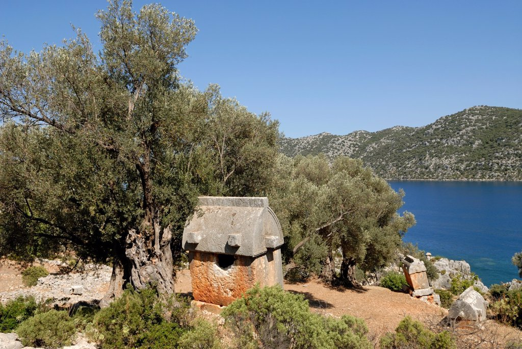Stock Photo: 1566-1075018 ancient Lycian tombs in Kalekoy Simena, Kekova bay, Turkey, Eurasia