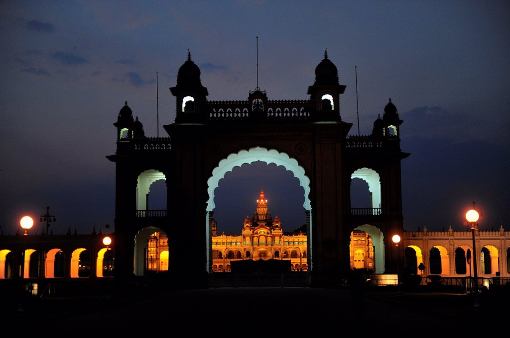Mysore palace in Karnataka illuminated at night,South India,Asia : Stock Photo