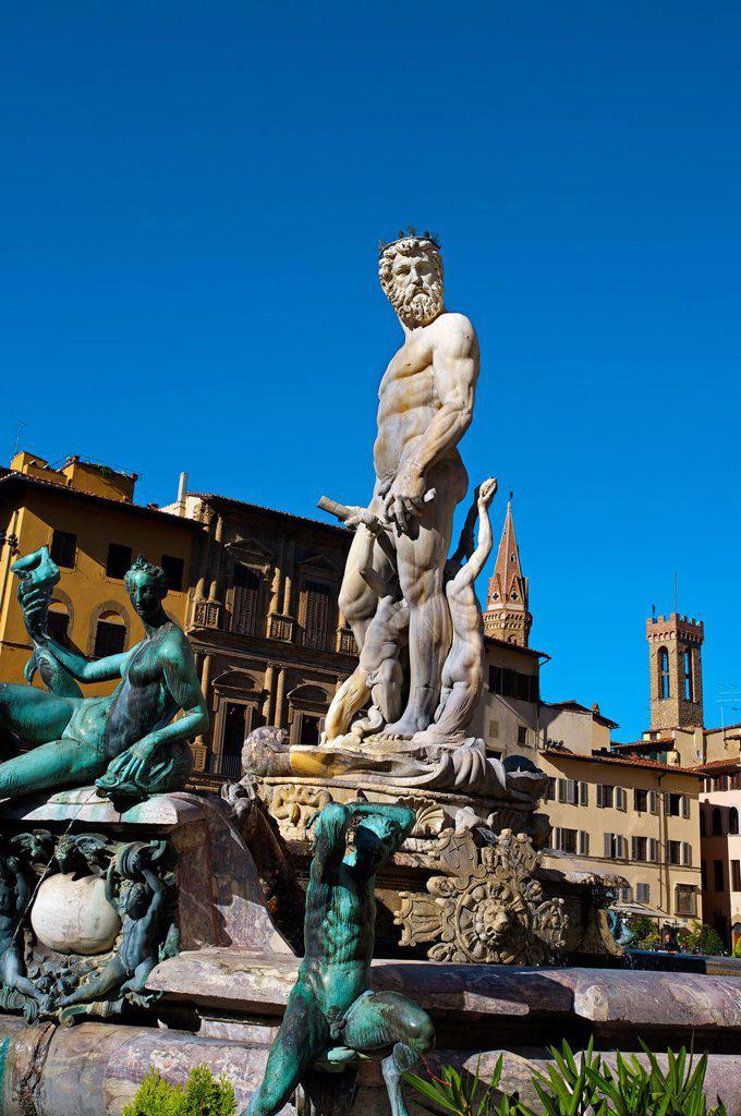 Stock Photo: 1566-1076237 Neptune fountain, bartolomeo ammannati, 1565-1575  Piazza della Signoria, Florence, Tuscany, Italy