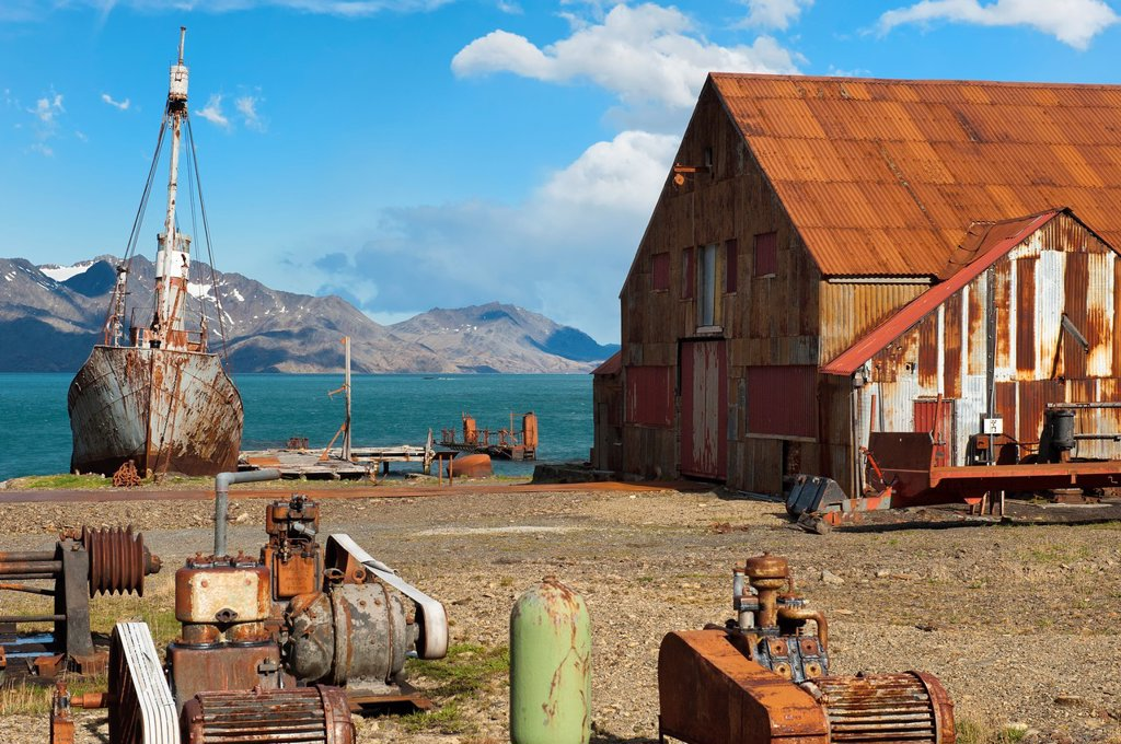 Stock Photo: 1566-1076470 Abandoned Whaling ship rusting, Former Grytviken Whaling Station, South Georgia