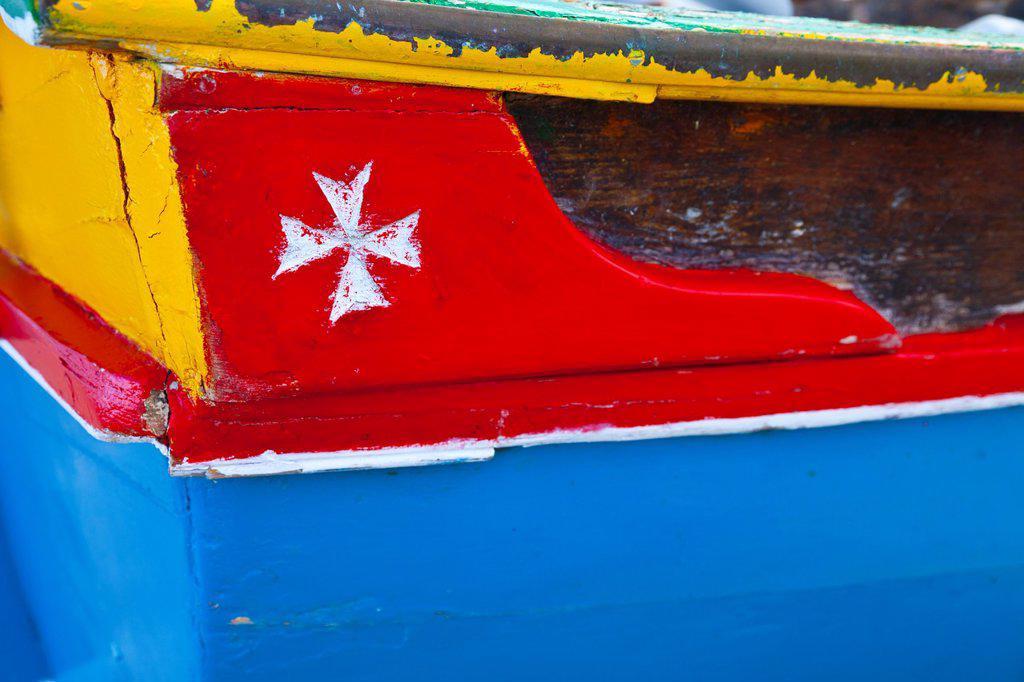 Traditional fish boat, Gozo Island, Malta, Europe : Stock Photo
