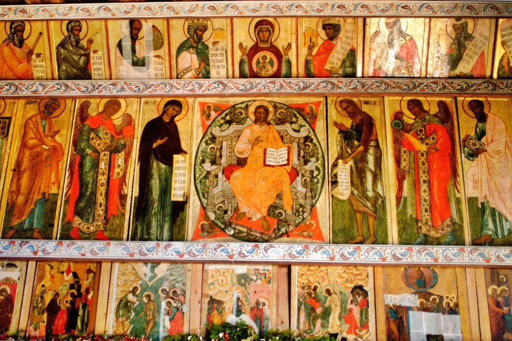 Stock Photo: 1566-1076822 Ruusia, Karelia Republic, Kizhi Island, Kizhi Open Air Architectural Museum, Transfiguration Church, The Iconostasis