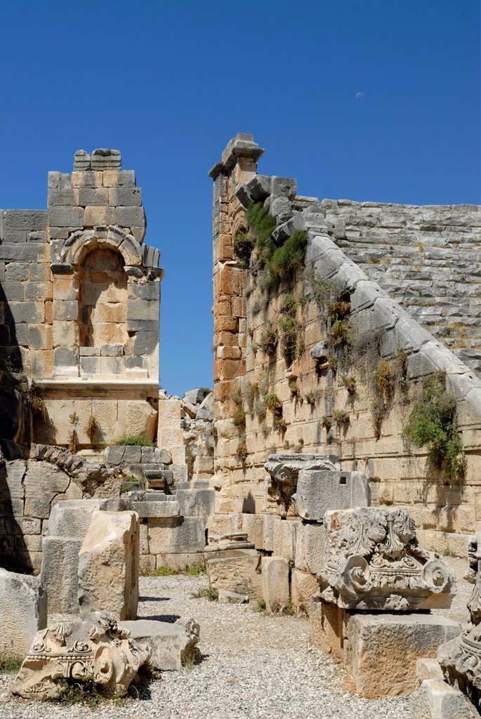 Stock Photo: 1566-1077061 theatre of archeological site of Myra, Demre, Turkey, Eurasia