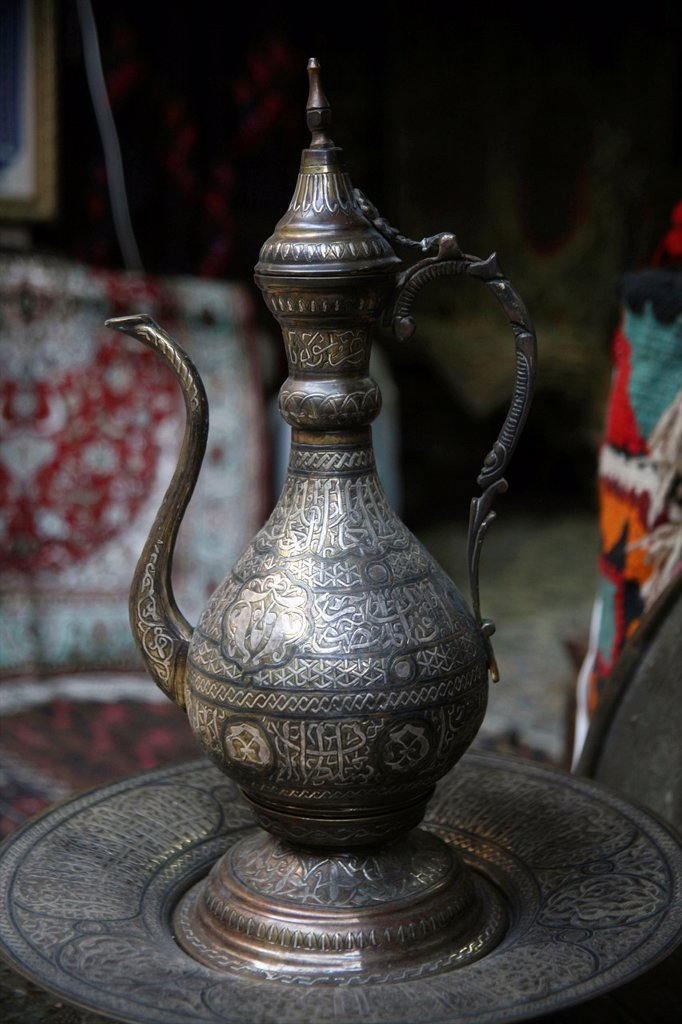 Tea pot at a market in the old city of Jerusalem : Stock Photo