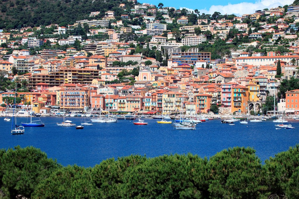 The coastal village of Villefranche sur mer, French Riviera, Alpes-Maritimes, Provence-Alpes-Côte d´Azur, France, Europe : Stock Photo
