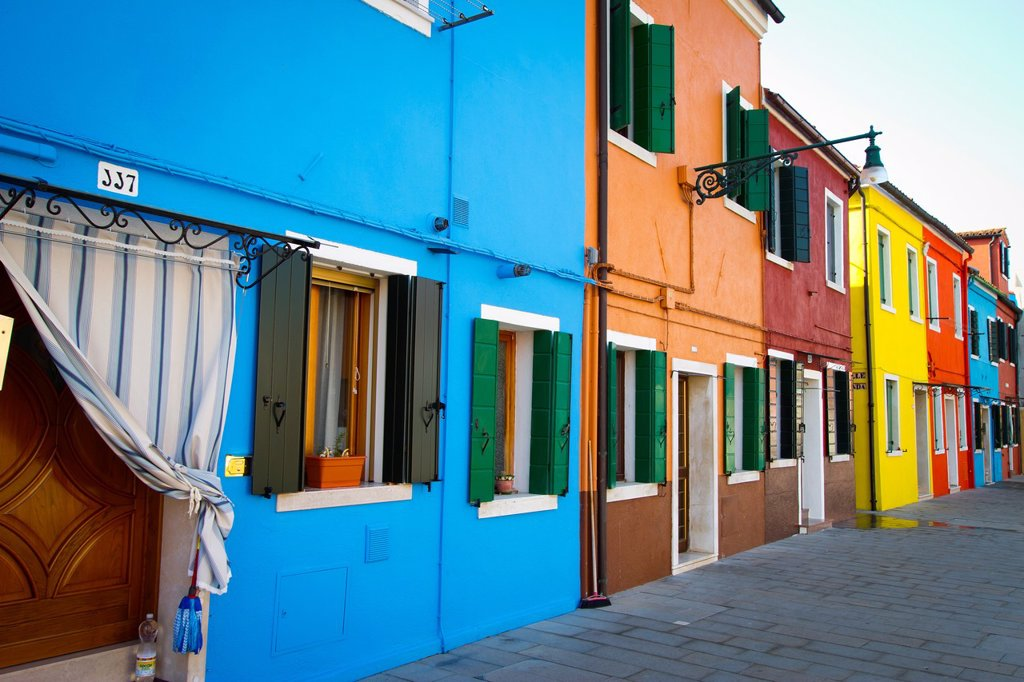 Stock Photo: 1566-1077440 Street and houses  Burano island  Venice, Italy