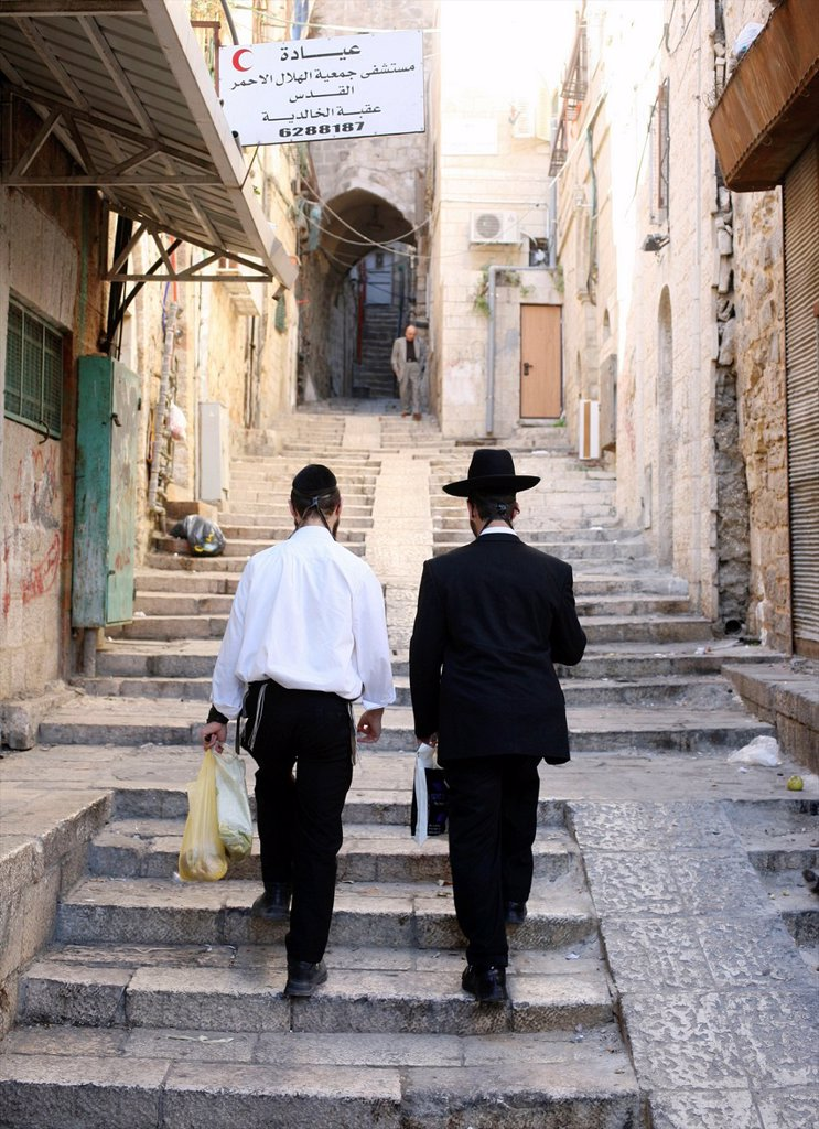 Stock Photo: 1566-1078144 Jewish men near the Western wailing wall in Jerusalem