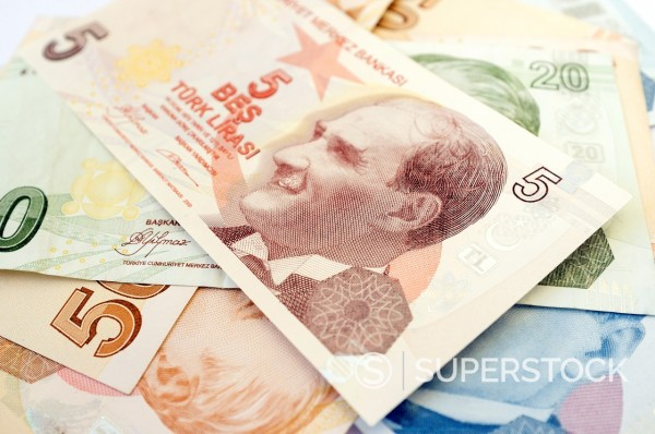 Turkish lira bank notes : Stock Photo