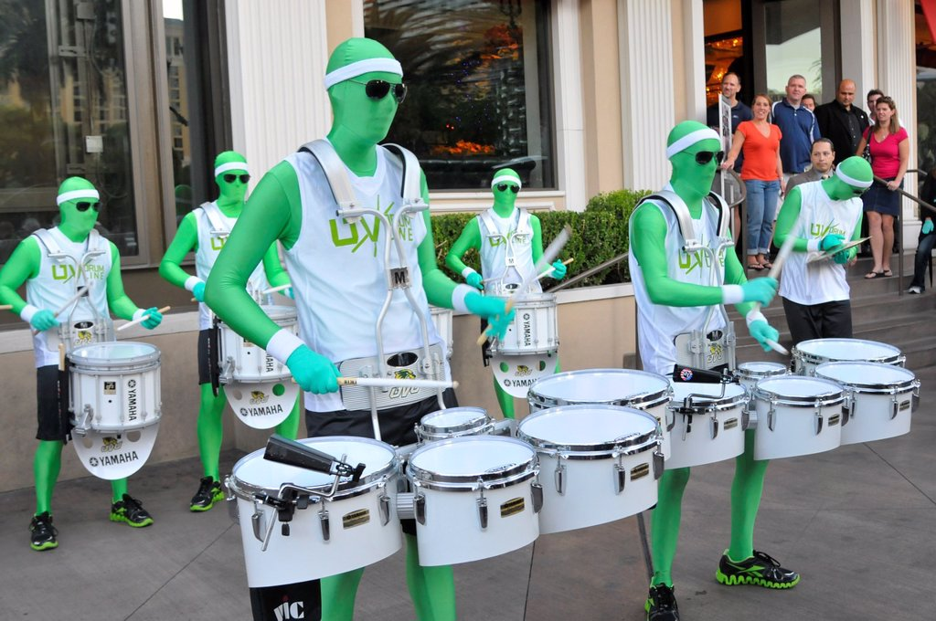 Stock Photo: 1566-1079085 UNLV green street performers musicians band las vegas nevada