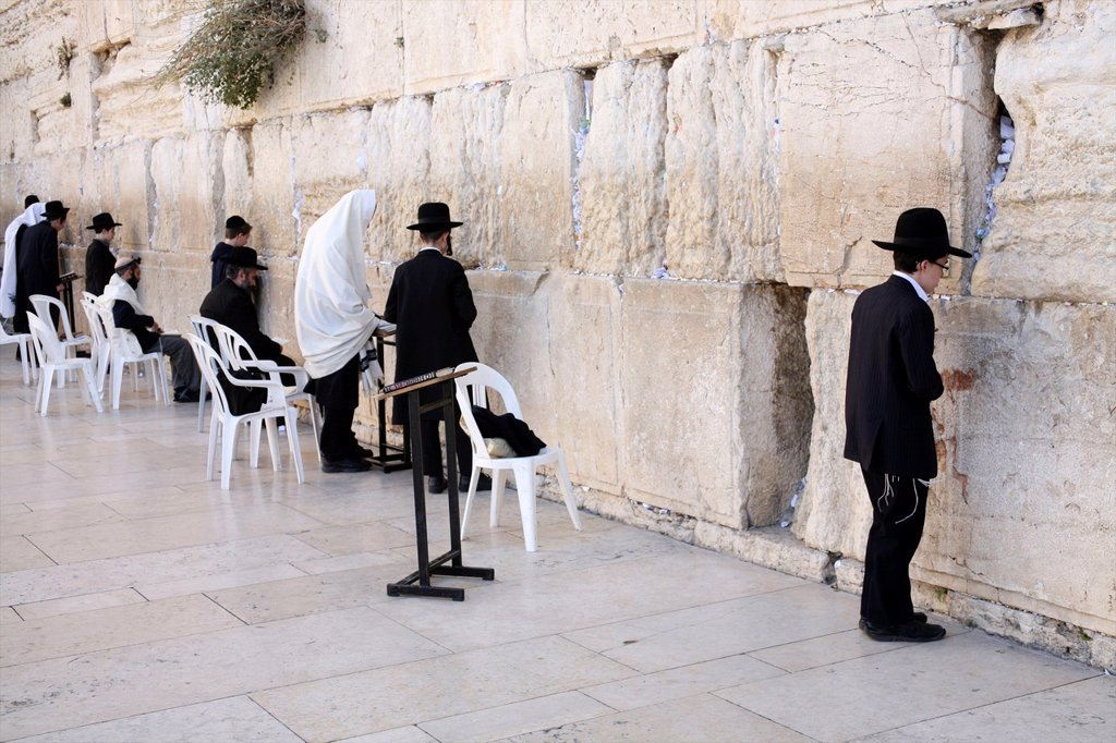 Stock Photo: 1566-1079185 Jewish men gathered at the Western wailing wall in Jerusalem