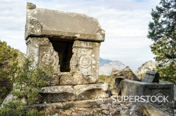 Stock Photo: 1566-1079299 Rock tomb at ruins of Termessos, Antalya Province, Turkey