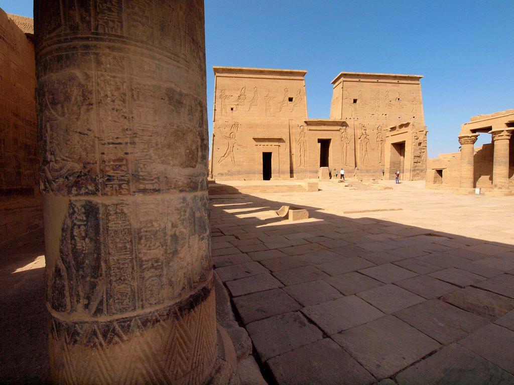 Philae, Isis Temple, Aswan, Upper Egypt : Stock Photo