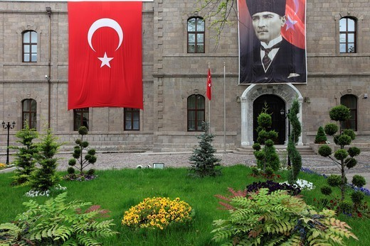Turkey, Ankara, Governorate, Turkish flag, Ataturk image. : Stock Photo