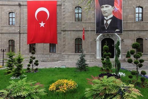 Stock Photo: 1566-1079722 Turkey, Ankara, Governorate, Turkish flag, Ataturk image.