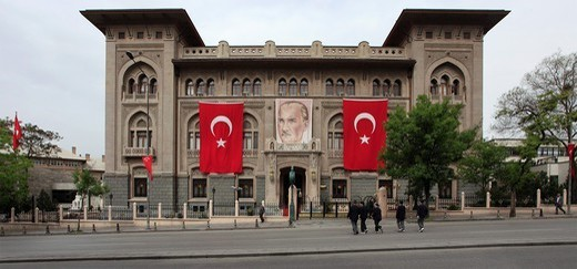 Stock Photo: 1566-1079723 Turkey, Ankara, Ziraat Bank, Ataturk image, Turkish flags.