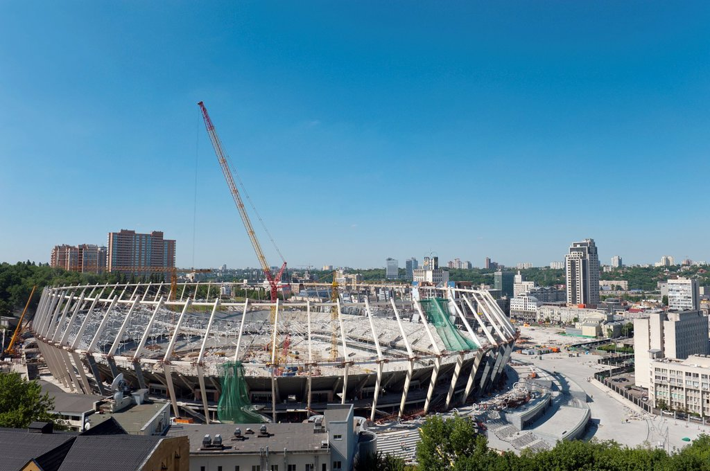 Stock Photo: 1566-1079830 New Stadium under construction for The 2012 UEFA European Football Championship, Kiev, Ukraine, Europe