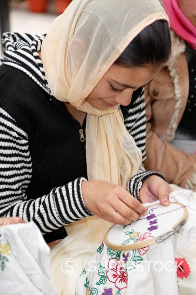 Dehradun, India  Indian Muslim Woman Embroidering : Stock Photo