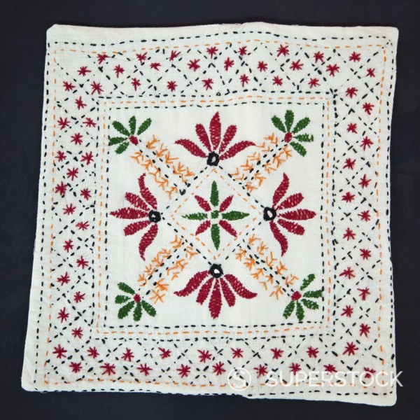 Stock Photo: 1566-1080001 Embroidered Pillow Case, Dehradun, India