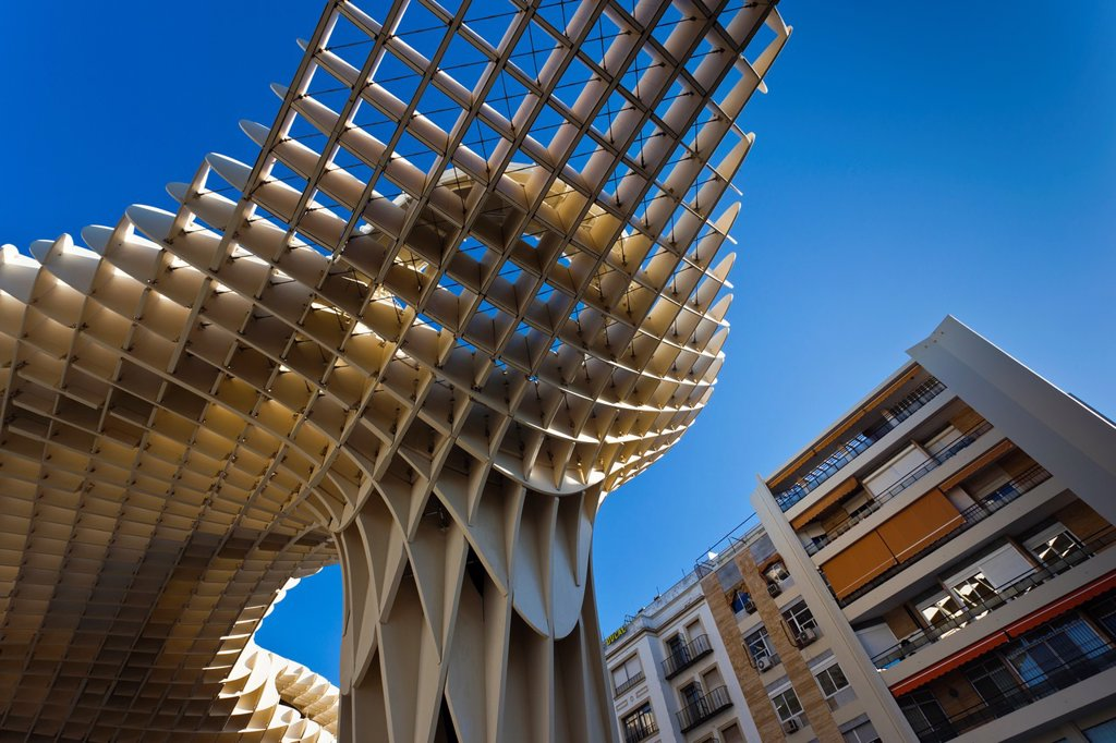 Stock Photo: 1566-1080128 Spain, Andalucia Region, Seville Province, Seville, Plaza de la Encarnacion, Metropol Parasol, built 2011, Jurgen Mayer H, architect