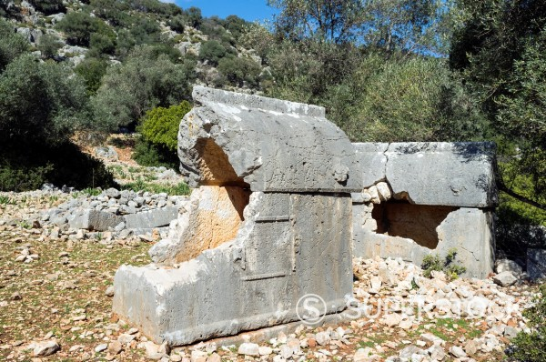 Stock Photo: 1566-1080775 Lycian Rock Tombs, Aperlae, Antalya Province, Turkey