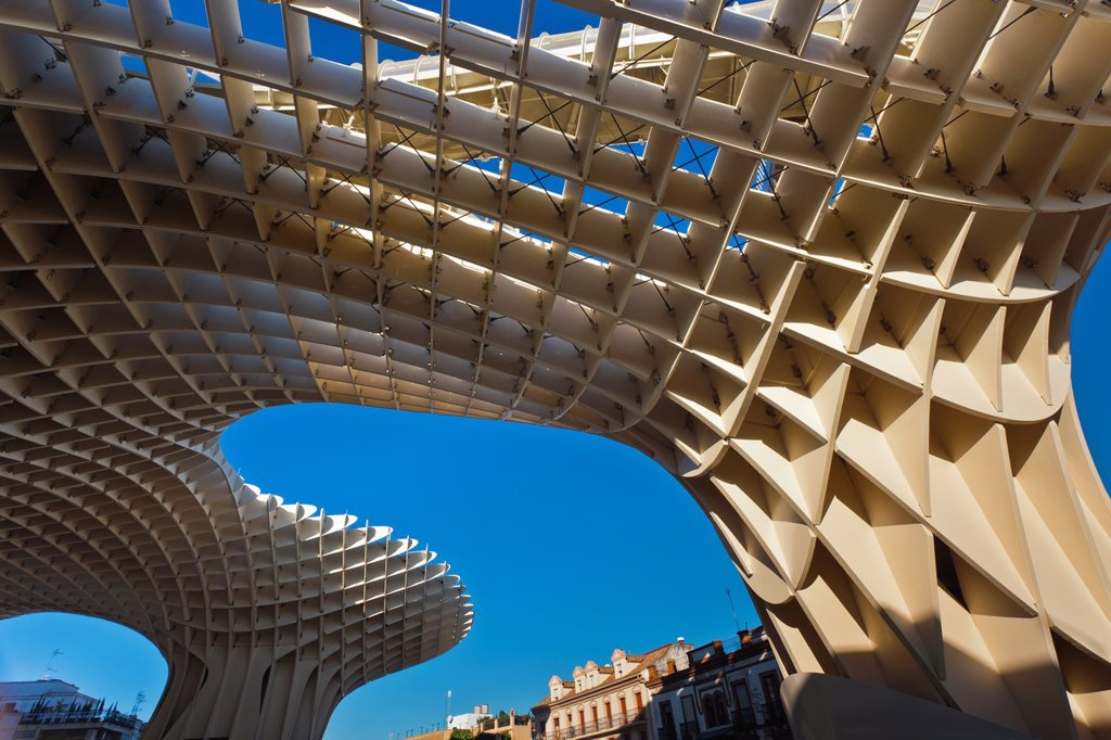 Stock Photo: 1566-1080858 Spain, Andalucia Region, Seville Province, Seville, Plaza de la Encarnacion, Metropol Parasol, built 2011, Jurgen Mayer H, architect