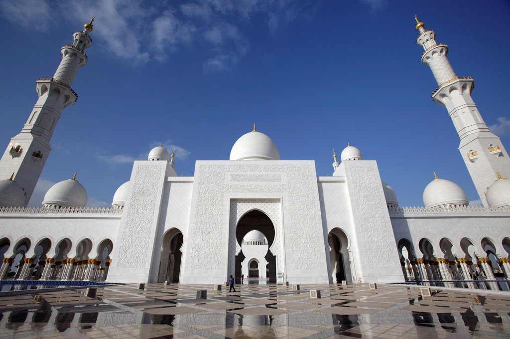 Stock Photo: 1566-1081417 Sheikh Zayed Grand Mosque, Abu Dhabi, Uniter Arab Emirates